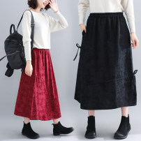 Women's large Winter 2020, autumn 2020 Black, jujube Average size [recommended 100-180 kg] skirt singleton  commute easy moderate Decor literature Polyester, cotton S0926 pocket 31% (inclusive) - 50% (inclusive) Medium length