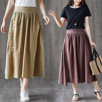 Women's large Spring 2021 Brown, Dark Khaki, black L [recommended 100-135 kg], XL [recommended 135-170 kg] skirt singleton  commute easy moderate Solid color literature Polyester, cotton Three dimensional cutting S0310W 31% (inclusive) - 50% (inclusive) Medium length