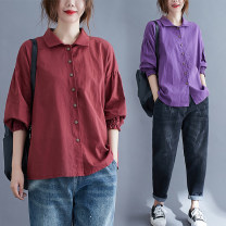 Women's large Spring 2021, summer 2021 Purple, red Average size [recommended 100-240 kg] shirt singleton  commute easy thin Cardigan Long sleeves literature Polo collar routine Polyester, cotton Three dimensional cutting routine 31% (inclusive) - 50% (inclusive)