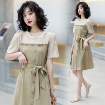 Dress Summer 2021 Khaki black S M L XL Mid length dress singleton  Short sleeve commute Crew neck Elastic waist Solid color A-line skirt routine Others 25-29 years old Type A Raman Hui / manhui Korean version Splicing MOHC6089 More than 95% other Other 100%