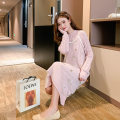 sweater Autumn of 2019 Average size Pink Beige Long sleeves Socket Two piece set Medium length other 95% and above Crew neck Regular commute raglan sleeve other Straight cylinder Regular wool Keep warm and warm 18-24 years old Impression of Matcha MC8182 Bright thread gauze Other 100%