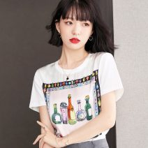 Lace / Chiffon Summer 2021 White, black S,M,L,XL,2XL Short sleeve commute Socket singleton  easy Regular Crew neck other routine 25-29 years old Korean version 31% (inclusive) - 50% (inclusive) polyester fiber