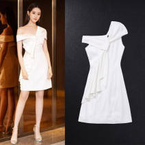 Dress / evening wear Wedding, adulthood, party, routine S,M,L white other Middle-skirt middle-waisted Summer 2021 One shoulder Rayon Sleeveless Solid color 91% (inclusive) - 95% (inclusive)