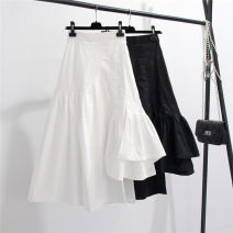 skirt Spring 2020 Average size White, black Mid length dress commute High waist Irregular Solid color Type A Korean version