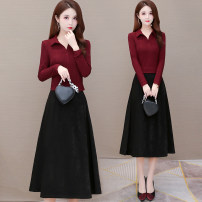 Dress Autumn 2020 Red, blue, black M L XL 2XL 3XL 4XL Mid length dress Fake two pieces Long sleeves commute Polo collar High waist Solid color Socket A-line skirt routine Others 40-49 years old Type A Ancient silk flower Korean version Three dimensional decoration HL20S11-1 More than 95%