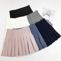 skirt Winter of 2018 XS,S,M,L,XL Dark blue, gray, white, blue, black, pink Short skirt commute High waist Pleated skirt Solid color Type A 18-24 years old 30% and below other Other / other polyester fiber Korean version