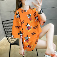 Dress Spring 2020 M L XL XXL Mid length dress singleton  Short sleeve commute Crew neck Loose waist Cartoon animation Socket routine 18-24 years old Type H Muvrtteng / muteng Korean version printing 51% (inclusive) - 70% (inclusive) polyester fiber Pure e-commerce (online only)