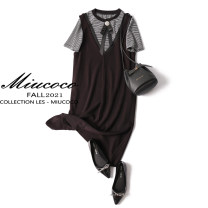 Dress Summer 2021 Black L,XL,2XL,3XL,4XL Mid length dress Two piece set Short sleeve commute Crew neck Loose waist Solid color Socket A-line skirt routine Others Type A Korean version straps MIUCOCO2102 51% (inclusive) - 70% (inclusive) other cotton