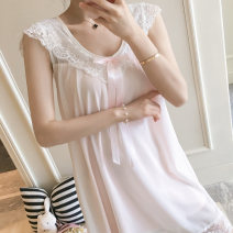Nightdress Marporna Mbn-8819 # pink mbn-8819 # white S M L XL Sweet camisole pajamas Middle-skirt summer Solid color youth V-neck cotton lace More than 95% pure cotton MBN-8819# 200g and below Summer of 2019 Cotton 100% Pure e-commerce (online only)