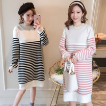 Home skirt A litter of bears Black and white, pink and white M,L,XL,XXL Long sleeves winter Crew neck thickening leisure time Socket stripe acrylic fibres other Horizontal opening feeding convenient Plush nursing skirt 55