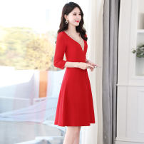 Dress Summer 2021 Royal blue big red black M L XL XXL Mid length dress singleton  Long sleeves commute V-neck middle-waisted Solid color Socket A-line skirt routine Others 25-29 years old Type A Ou Beiling Korean version zipper OBL213716 More than 95% polyester fiber Polyester 100%