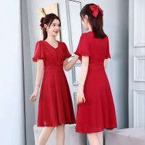 Dress Summer 2021 Pink purple red M L XL XXL Mid length dress singleton  Short sleeve commute V-neck High waist Solid color Socket A-line skirt routine Others 25-29 years old Type A Ou Beiling Korean version Splicing OBL2131802 More than 95% Chiffon polyester fiber Polyester 100%
