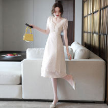 Dress Summer 2021 Beige Pink Blue M L XL XXL Mid length dress singleton  Short sleeve commute V-neck High waist Solid color Socket A-line skirt routine Others 25-29 years old Type A Ou Beiling Korean version Button OBL2131803 More than 95% Chiffon polyester fiber Polyester 100%