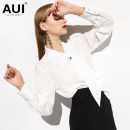 shirt white S M L XL Spring of 2019 polyester fiber 96% and above Long sleeves street Regular other Single row multi button shirt sleeve Solid color 30-34 years old Straight cylinder AUI Polyester 100% Pure e-commerce (online only) Europe and America