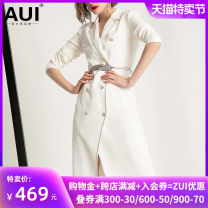 suit Autumn of 2019 White [free belt] S M L XL Long sleeves Medium length Self cultivation tailored collar double-breasted street routine Solid color 19Q044612 30-34 years old 91% (inclusive) - 95% (inclusive) polyester fiber AUI Pocket lace up button panel Pure e-commerce (online only)
