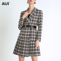 woolen coat Winter of 2019 S M L XL Apricot black check [a small amount in stock] [free belt] polyester 51% (inclusive) - 70% (inclusive) Medium length Long sleeves street double-breasted routine tailored collar lattice Self cultivation 19D095298 AUI 30-34 years old Pleated lace up button Solid color