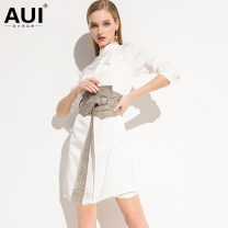 Dress Spring of 2019 S M L XL Middle-skirt singleton  Long sleeves street stand collar High waist Solid color Single breasted Irregular skirt shirt sleeve 30-34 years old AUI Lace up button with ruffle More than 95% polyester fiber Polyester 100% Pure e-commerce (online only) Europe and America