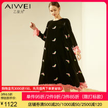 Dress Autumn of 2019 black S M L XL 2XL Mid length dress singleton  Long sleeves commute Crew neck Loose waist Broken flowers Socket Big swing Lotus leaf sleeve Others 35-39 years old B love for lady 30% and below silk Mulberry silk 30% others 70% Same model in shopping mall (sold online and offline)