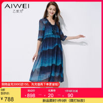 Dress Summer 2021 Tibetan blue S M L XL 2XL Mid length dress Two piece set elbow sleeve commute V-neck High waist other Socket A-line skirt routine 30-34 years old Type A B love for lady Lace up print AW173212L2132 More than 95% silk Mulberry silk 100%