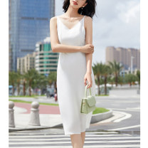 Dress Summer 2021 S,M,L Mid length dress singleton  Sleeveless commute V-neck High waist Solid color Socket A-line skirt routine camisole Type A Jovkatti / drokati Simplicity 51% (inclusive) - 70% (inclusive) other polyester fiber