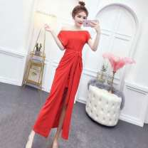 Dress Summer of 2019 gules S,M,L,XL Mid length dress Two piece set Short sleeve commute One word collar High waist Solid color Socket One pace skirt routine Others 18-24 years old Type H Other / other Korean version Lace up G34608# More than 95% brocade polyester fiber