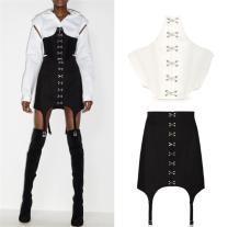 Fashion suit Spring 2021 S,M,L Fishbone bra white, fishbone Bra Black, suspender skirt white, suspender skirt black
