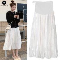 skirt Maternity Skirt Medium length Korean version M,L,XL,XXL summer VSETAMELLE Apricot, white pleat, black pleat Solid color