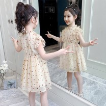Dress Q46 - [little peach heart chiffon dress] stand collar female Other / other The recommended height is 90cm for size 100, 100cm for Size 110, 110cm for Size 120, 120cm for Size 130, 130cm for size 140, 140cm for size 150 and 150cm for size 160 Cotton 100% spring and autumn princess Long sleeves