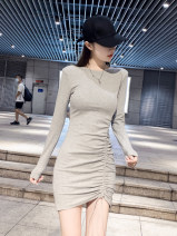 Dress Autumn 2020 White, gray, black S,M,L,XL Short skirt singleton  Long sleeves commute Crew neck High waist Solid color Socket One pace skirt routine Others 25-29 years old Type X Nuture one / nitsville Tuck, fold, tie More than 95% other cotton