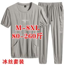 Leisure sports suit summer M,L,XL,2XL,3XL,4XL,5XL,6XL,7XL,8XL Short sleeve Other / other Ninth pants Large size T-shirt Give up nylon 2020