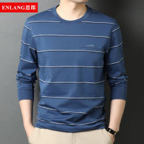 T-shirt Fashion City thin 165/M 170/L 175/XL 180/XXL 185/XXXL Enron Long sleeves Crew neck easy Other leisure spring middle age routine Business Casual Woven cloth Spring 2021 stripe Rib decoration cotton Chinese culture No iron treatment Pure e-commerce (online only)