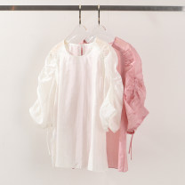 shirt White, pink, yellow, green, light yellow S,M,L Spring 2021 other 96% and above elbow sleeve commute Regular Crew neck Socket Solid color Self cultivation Yiwuqi 42-208101