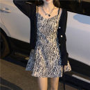 Dress Spring 2021 Black jacket 8651, zebra dress 3455# S. M, l, average size Two piece set 18-24 years old