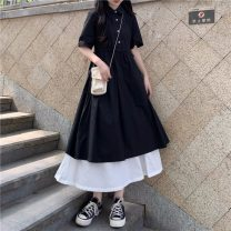 Dress Summer 2021 Graph color Average size longuette Fake two pieces Short sleeve Sweet Polo collar High waist Single breasted A-line skirt routine Others 18-24 years old Type A Button 631#