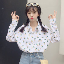 shirt Yellow pineapple, pink pineapple One size fits all, XXS pre-sale Summer of 2018 cotton 81% (inclusive) - 90% (inclusive) Long sleeves commute Regular Polo collar Socket routine Broken flowers 18-24 years old Straight cylinder Korean version seven point one nine