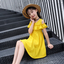 Dress Summer of 2019 Yellow, green, pink 110cm, 120cm, 130cm, 140cm, 150cm, 160cm, collect and send exquisite gifts Middle-skirt singleton  Short sleeve Sweet V-neck middle-waisted Solid color Socket Pleated skirt Lotus leaf sleeve Others Under 17 Type A Other / other Bow, Ruffle X023 More than 95%