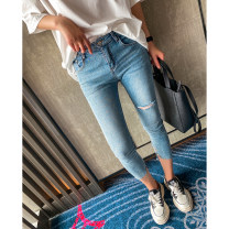 Jeans Spring 2021 Denim blue 26,27,28,29,30 Ninth pants Natural waist Pencil pants routine 25-29 years old Old, worn, washed, white, zipper, button, multi pocket, scratch other light colour LLJ3163 spread 71% (inclusive) - 80% (inclusive)