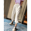 Casual pants White, black, grey M, L Spring 2021 Ninth pants Haren pants Natural waist commute routine 25-29 years old 91% (inclusive) - 95% (inclusive) spread other Korean version pocket