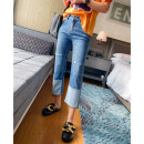 Jeans Spring 2021 Denim blue 25,26,27,28,29,30,31 Ninth pants Natural waist Straight pants routine 25-29 years old Make old , washing , Grinding white , Flanging , zipper , Button , Multiple pockets , Scratch pattern other light colour JJ22357 spread 71% (inclusive) - 80% (inclusive)