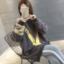 Sweater / sweater Winter of 2018 Yellow grey brick red grey Plush brick red plush yellow Plush Average size Long sleeves Medium length Socket singleton  Plush Hood Straight cylinder commute routine Solid color 18-24 years old 96% and above Chevensie Korean version other XFXF32F3 Other 100%