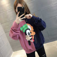 Sweater / sweater Autumn of 2019 Average size Long sleeves routine Socket singleton  Plush Crew neck easy commute routine Color matching 18-24 years old 96% and above Chevensie Korean version other Print stitching Other 100% Pure e-commerce (online only)