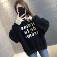 Sweater / sweater Spring 2020 White black orange lake blue white plush black Plush Average size Long sleeves routine Socket Fake two pieces thickening Crew neck easy commute routine letter 18-24 years old 96% and above Chevensie Korean version other XFX3715 Printed stitching thread Other 100%