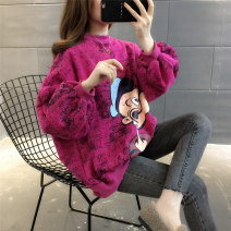 Sweater / sweater Autumn of 2019 White Black Rose Average size Long sleeves routine Socket singleton  Plush Crew neck easy commute routine Cartoon animation 18-24 years old 96% and above Chevensie Korean version other Lace up print stitching thread Other 100% Pure e-commerce (online only)