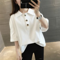 T-shirt White black Average size Spring of 2019 elbow sleeve square neck easy Regular routine commute other 96% and above 18-24 years old Korean version originality Solid color Chevensie XFX19083 Button Other 100% Pure e-commerce (online only)
