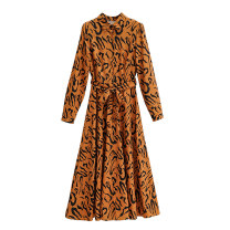 Dress Autumn 2020 As shown in the figure S,M,L longuette singleton  Long sleeves street middle-waisted Decor routine WHLP printing 81% (inclusive) - 90% (inclusive) polyester fiber Europe and America