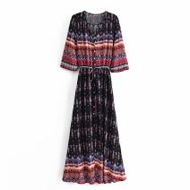 Dress Summer 2021 As shown in the figure S,M,L longuette singleton  Long sleeves Sweet Crew neck middle-waisted Decor Socket A-line skirt routine Others Type A WHLP Print, lace up A-60506 More than 95% other other Bohemia
