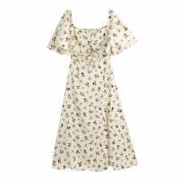 Dress Summer 2021 Apricot XS,S,M,L longuette singleton  Short sleeve street V-neck High waist Broken flowers Socket Ruffle Skirt WHLP printing 11-1263