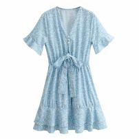 Dress Summer 2021 blue S,M,L Short skirt singleton  Short sleeve street V-neck High waist Broken flowers Socket A-line skirt other Type A WHLP Lotus leaf edge L2-9768 polyester fiber Europe and America