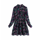 Dress Winter 2020 As shown in the figure XS,S,M,L Short skirt singleton  Long sleeves commute stand collar middle-waisted Decor Socket A-line skirt routine Others Type A WHLP Retro Button, print More than 95% other