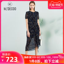 Dress Summer of 2019 36 38 40 42 44 longuette singleton  Short sleeve commute Crew neck High waist Decor Socket other routine Others 25-29 years old Medeco / medico Ol style More than 95% polyester fiber Polyester 100%